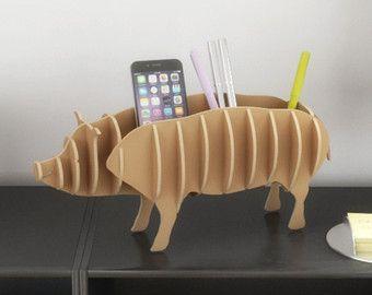 PIG PEN DESK - Cnc schneiden Vorlagendatei - 3D-Modell für Pappe geschnitten - tierische Vorlage Laserschneiden - Interior Design Regal desktop