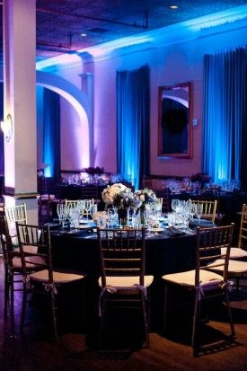 I love the uplighting in this blue and purple wedding!