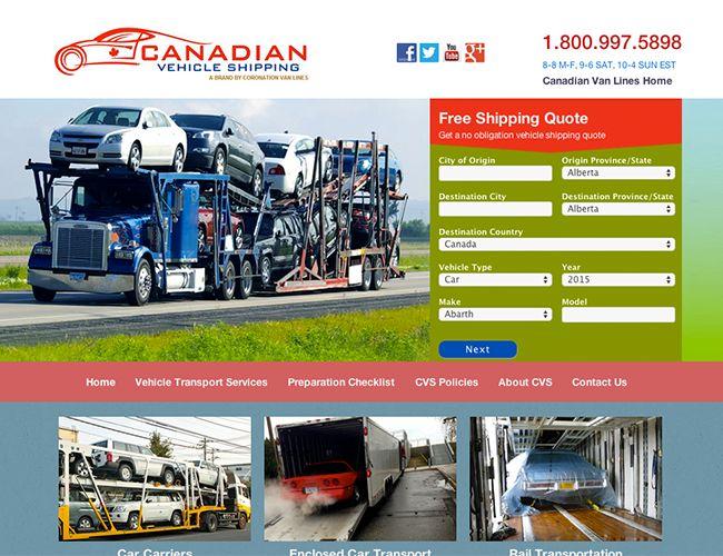 www.canadianvehicleshipping.com Calgary website design by Kreative Kekeli Design & marketing