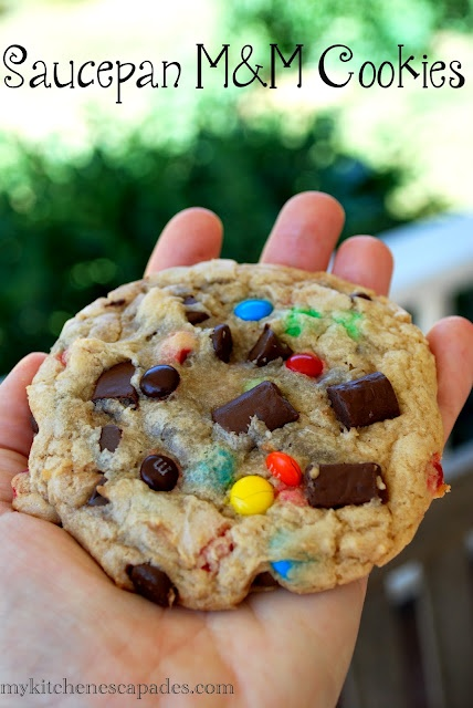 Saucepan M & M Cookies - No heavy mixer needed to create these decadent monster cookies!Kitchens Escapades, Chocolates Chips, Chocolate Chips, Recipe, Monsters Cookies, Brown Sugar, Food, M M Cookies, Saucepan Cookies