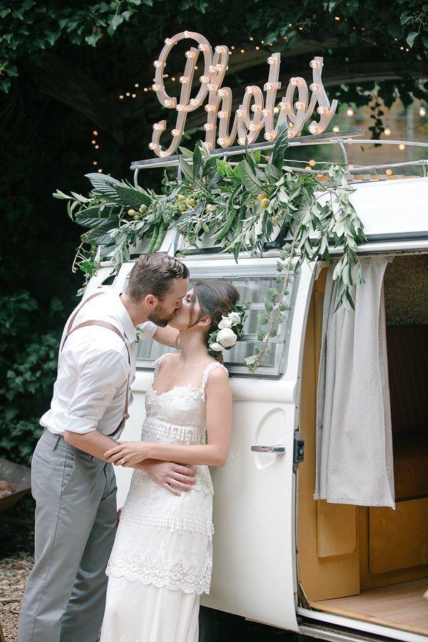 organic farm to table wedding with photobooth van
