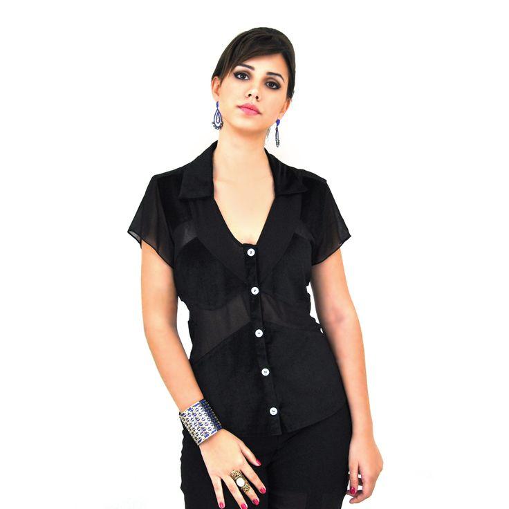 Camisa de Veludo com seda na cor preta.  Compre já: www.grege.com.br