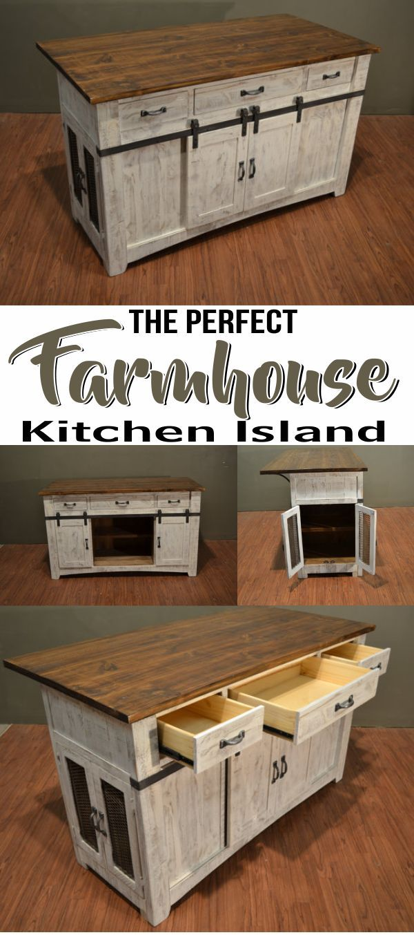 Kitchen Island Or Counter Antiqued White Finish On Base Natural Pine On Top No Assembly Required Barn Doors W Diy Decor Projects Pole Barn Homes Mesh Door