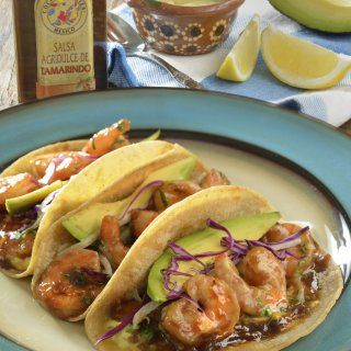 Tacos de Camarón con Salsa de Tamarindo