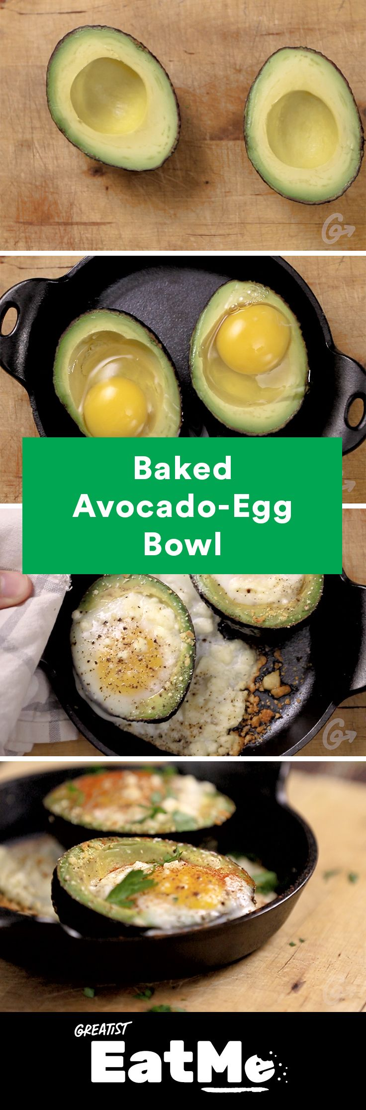 You won't miss avocado toast after feasting your eyes on this recipe. #healthy #avocado #recipe http://greatist.com/eat/baked-avocado-egg-bowl-recipe-video