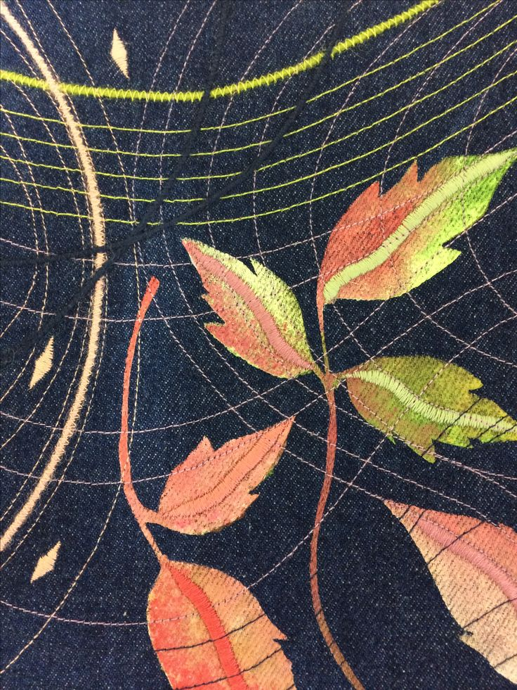 Clematis+Leaves+embroidered+panel+on+denim+by+Jackie+Wills, £25.00