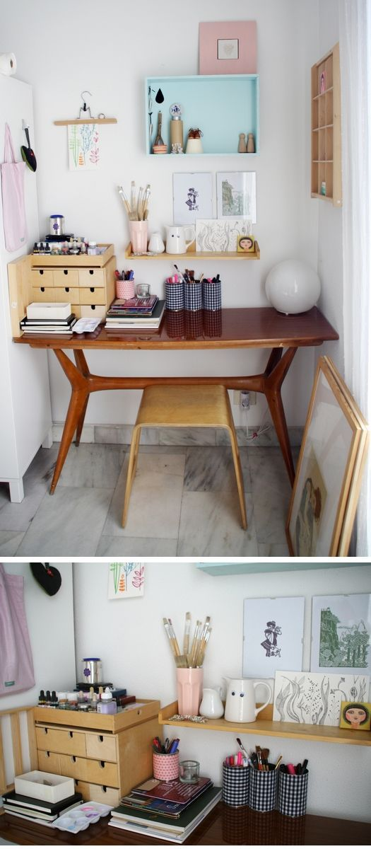 Desk in spare bedroom: like the shelf on the wall for pens etc