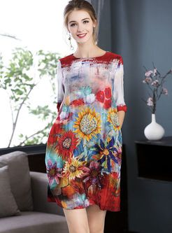 a72ab10a65d Street Sunflower Print Silk Plus Size Dress