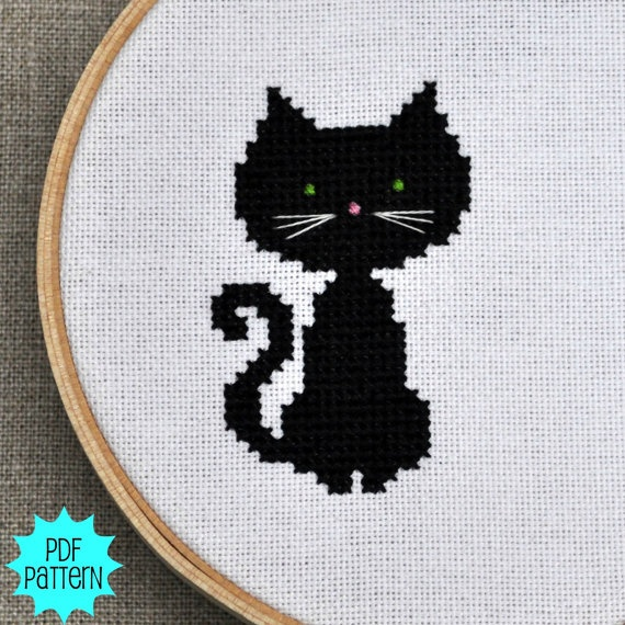Black Cat Cross Stitch Chart by Sewingseed on Etsy, $4.00