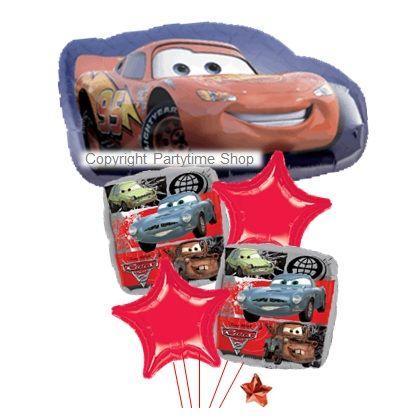 KIT BOUQUET DI PALLONCINI DISNEY CARS CON FOIL QUADRATI  [HE  15]