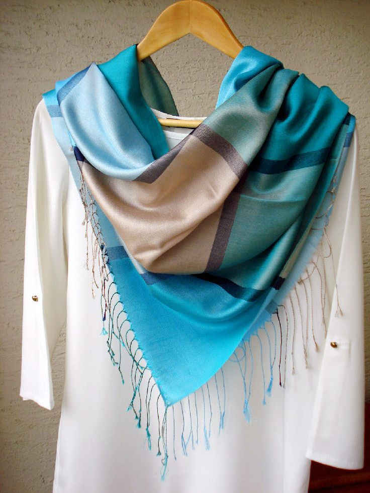 Soft Blue and turquoise green Plaid Pashmina Scarf, Multicolored Scarf, Silky jacquard scarf, Fall- Spring scarf, infinity scarf, Gypsy Wrap by fourseasonsscarf on Etsy