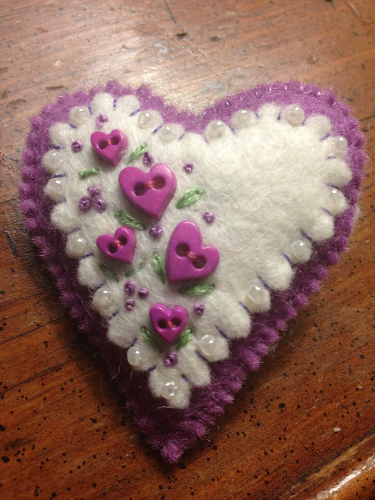 I MADE THIS! This was posted by my daughter Emily --- Heart flowered felt pin