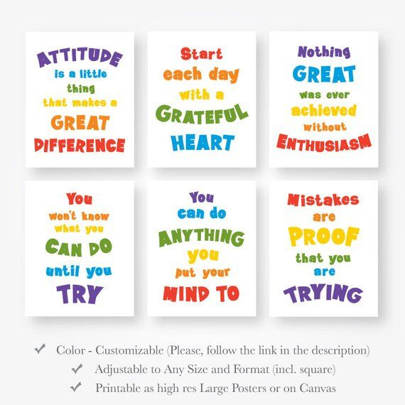 Motivational Quote Primary Colors Kids Room Wall Art Print Set Decor Inspirational Posters Printable Digital File Jpg Pdf Instant Download In 2021 Inspirational Quotes Posters Inspirational Quotes For Kids Quotes For Kids