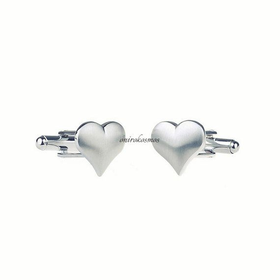 Stainless Steel Silver Matted Love Heart Novelty Shirt Suit Cufflinks Eternal Love Wedding Gift.