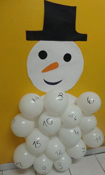 calendrier avent ballon bonhomme de neige - jeuxdecole
