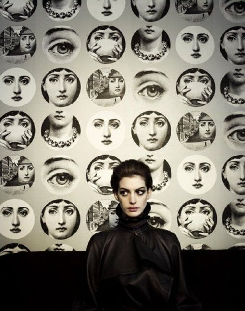 "Anne Hathaway, ""Tema e variazioni"" wallpaper by Fornasetti"