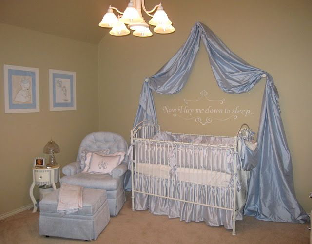 XL DRAPING ON WALL, FULL BED SKIRT.  VERY EASY! baby blue nursery