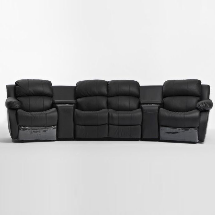 4 Seat Home Theatre Leather Recliner Lounge Black Reclining Sofa