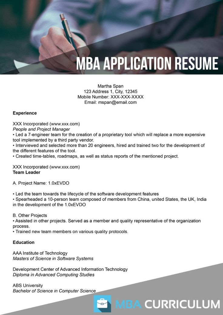 resume for executive mba application