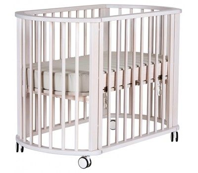 $559 Bebe Care Nordica Mini Cot Co-Sleeper White Wash - Cradles & Bassinets - Cots, Changetables, Furniture   Baby Bunting