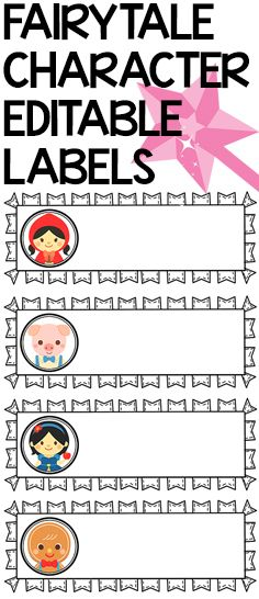 EDITABLE name labels featuring 51 classic fairytale characters from 11 fairytales.  Suitable for pre - 2nd Grade.  $