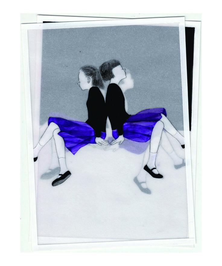 『Two girls-night』 アクリル絵具・トレーシングペーパー 15cm×11cm