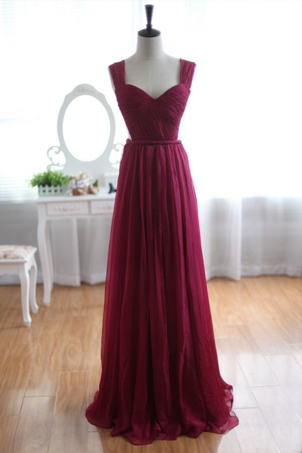 Love the color, waist band, fabric and cutout - Bridesmaids -------- Wine Red Burgundy Chiffon Bridesmaid Dress Prom Dress See Through Back////black heels & bag // diammonds