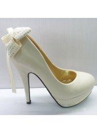 De nieuwe boeg diamanten bruiloft schoenen witte hoge hakken
