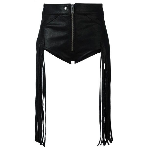 Diesel fringed shorts ($509) ❤ liked on Polyvore featuring shorts, pants, black, diesel shorts and fringe shorts
