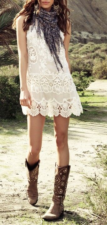 Fashion trends | Boho crochet dress, scarf, cowboy boots. For more follow www.pinterest.com/ninayay and stay positively #pinspired #pinspire @ninayay