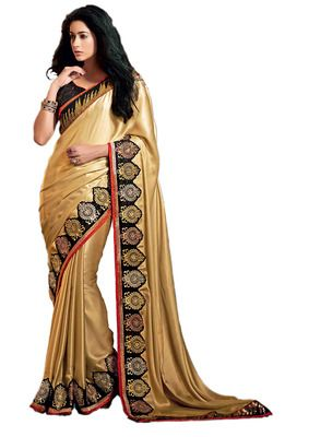 Ethnic Basket Shimmer Cream Colored Saree.With Blouse