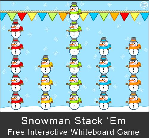 Free - Snowman Stack 'Em Game: A fun, whole class game for the interactive whiteboard, SMARTBoard, Promethian, or Mimio. www.pinkcatgames.com