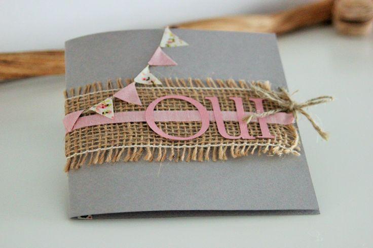 Faire-part de mariage ~ Fanions vintage rose et gris ~ : Faire-part par declic-deco