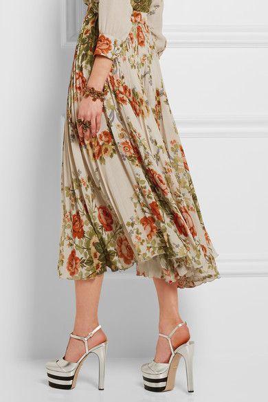 Gucci for NET-A-PORTER - Pleated Floral-print Silk Midi Skirt - Ecru - IT42