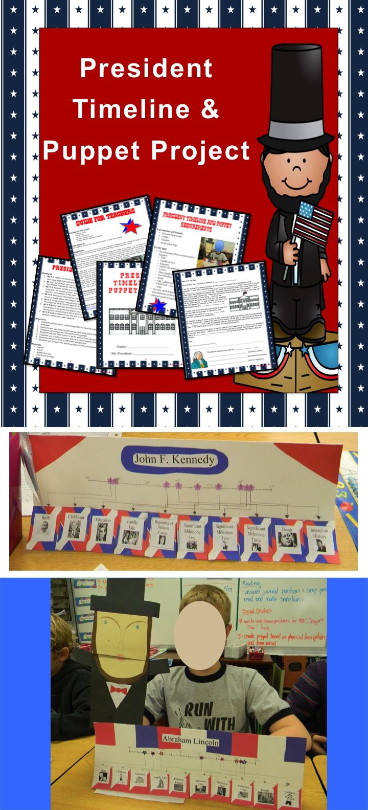 President Timeline and Puppet Project - A fun, engaging, and cross curricular project students love!