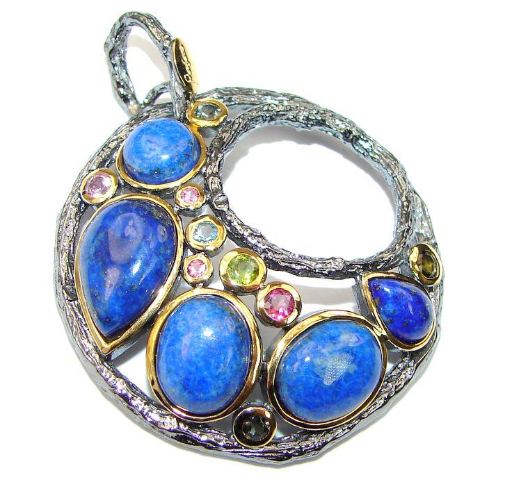 Just Glow! Genuine Navy Blue Lapis Lazuli Sterling Silver Pendant