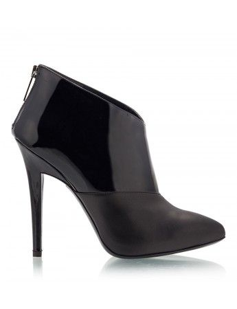 VICINI - KIL Black nappa & patent leather upper high heel pointy ankle boots