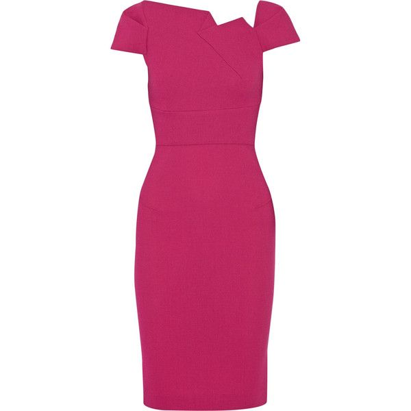 Roland Mouret Lepas wool-crepe dress (€795) ❤ liked on Polyvore featuring dresses, fuchsia, zipper dress, fuchsia pink dress, fuschia dress, pink crepe dress and fuschia pink dress