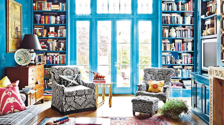 Blue House Tour  I  via Domaine Home: Libraries, Wall Colors, Living Rooms Design, Blue Wall, Melissa Miles, Interiors Design, Design Home, Coats Of Arm, Melissa Of Arabian