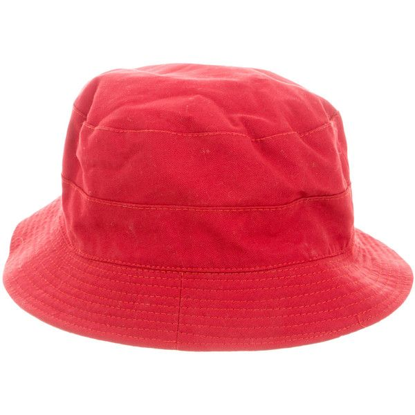 Pre-owned Prada Canvas Bucket Hat ($65) ❤ liked on Polyvore featuring accessories, hats, red, red bucket hat, canvas hat, prada hat, bucket hat and red hat