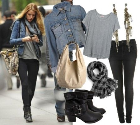 Jacket, Shirt, Bag, Scarf, Jeans, Boots  Blake looks effortlessly cool here in a worn denim jacket, loose-fitting gray t-shirt, black leggings and ankle boots. This look is easy to put together, stylish and most of all comfortable. Whether you're running errands, going to class, or grabbing lunch, this casual style is a great go-to for when you're not in the mood for constricting clothing.