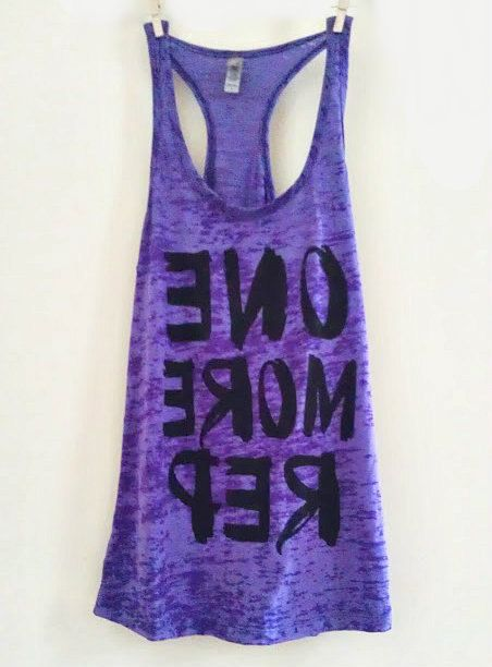 """Large Purple Women's """"ONE MORE REP"""" Crossfit/ Fitness / Workout Tank Top"""
