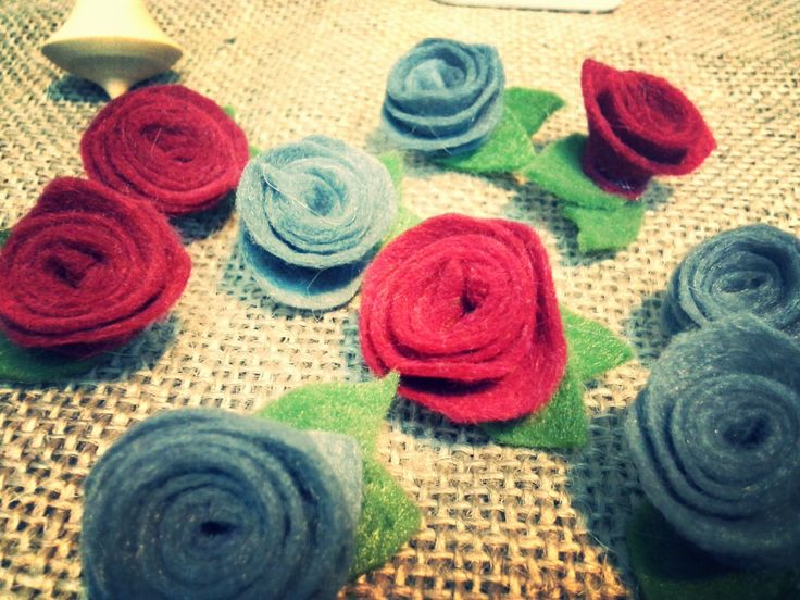 red or grey rose felt brooch