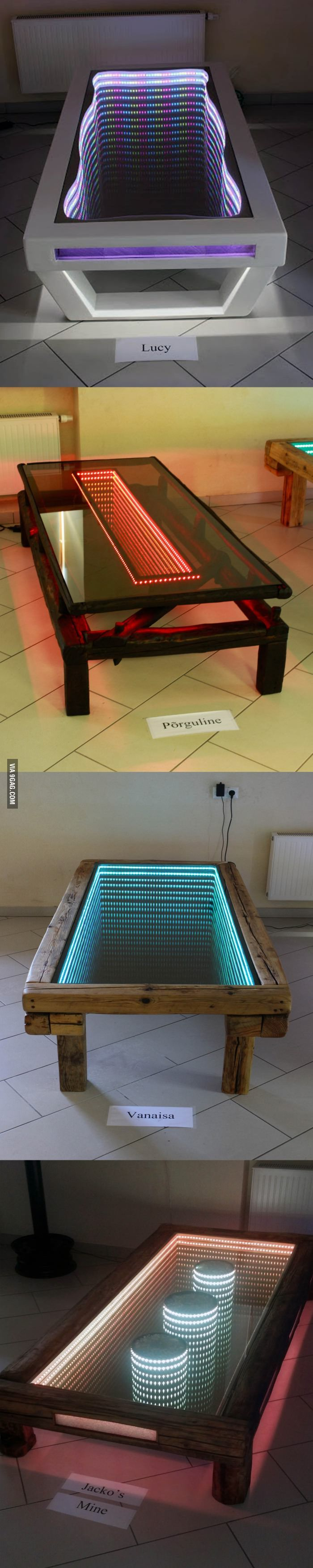 Handmade infinity tables. Led and mirror?
