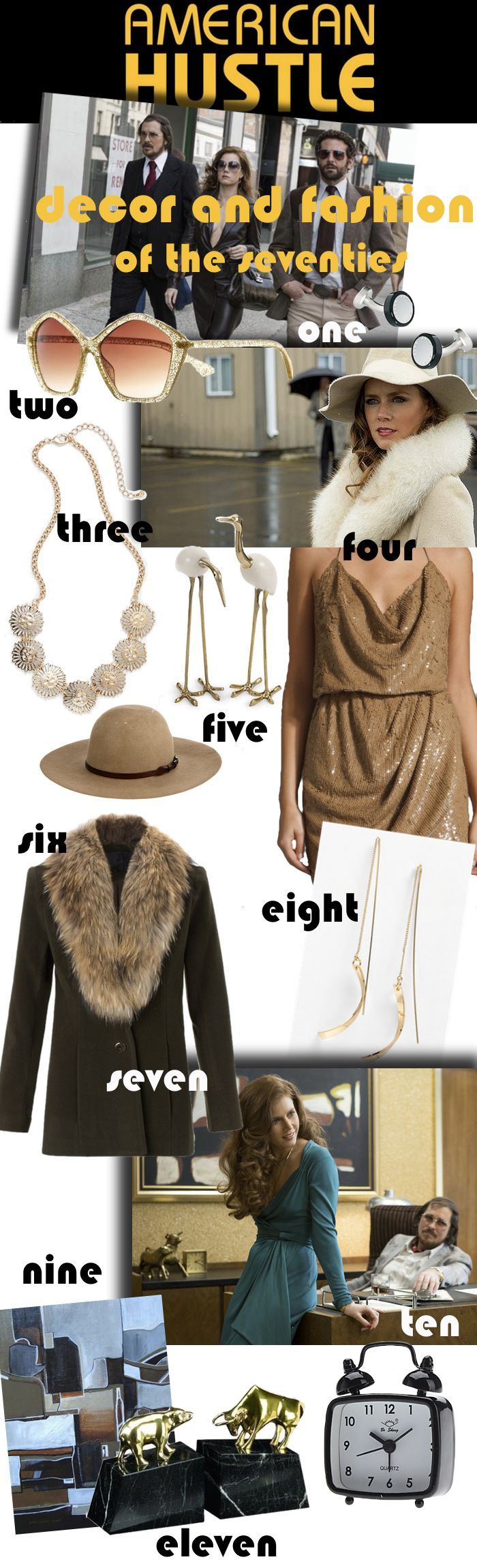 Inspired by Costume Design and Set Design of American Hustle featuring Christian Bale, Jennifer Lawrence, Amy Adams!
