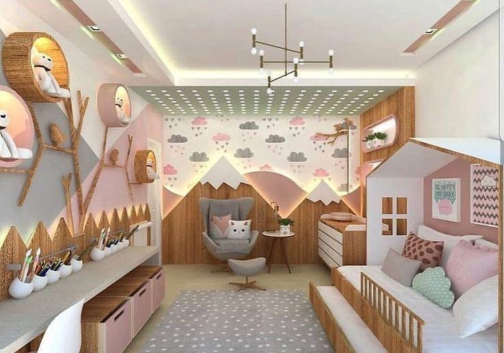 décoration, chambre, enfant, montagne, nuage, bois, original ...
