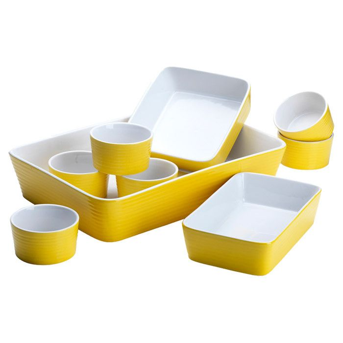 9 Piece Veronica Bakeware Set - yellow kitchen: Large Rectangular, Dishwasher Safe, Ceramic Baking, Yellow, 9 Piece Ceramic, Small Rectangular, Kitchen Stuff