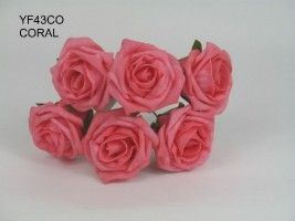 YF43CO -QUALITY  COTTAGE ROSE IN CORAL COLOURFAST FOAM...Visit our website to see our extensive range of colours.