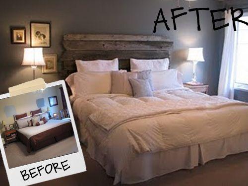 recycled wood headboard bedroom - Google Search
