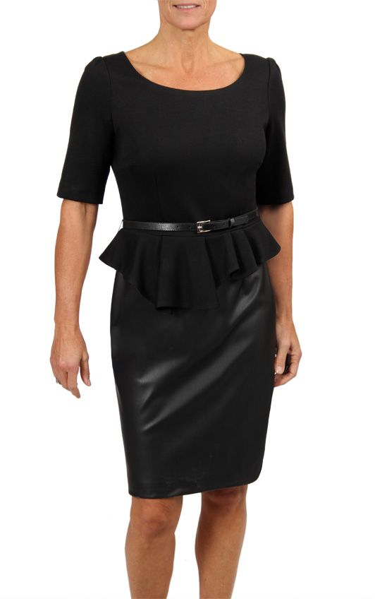 Peplum Dress with faux leather pencil skirt...comes with removable belt. Find this style in a store near you, and online at shop.cartise.com (in Canada only). $235.00 #madeincanada #peplum #fallfashion #cartise